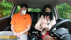 Fake Driving School Lady Dee sucks instructor's disinfected burning cock
